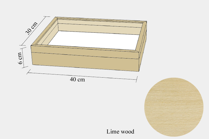 Lime wood drawer - 30 x 40 x 6 cm, with plastazote foam