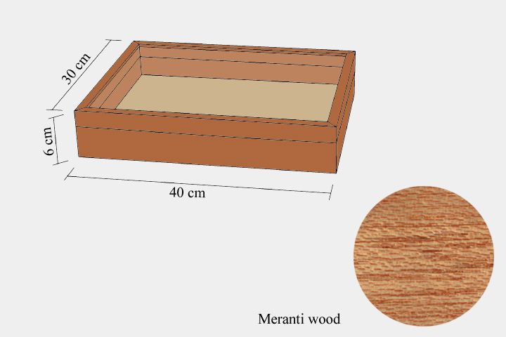 Meranthi wood drawer - 30 x 40 x 6 cm