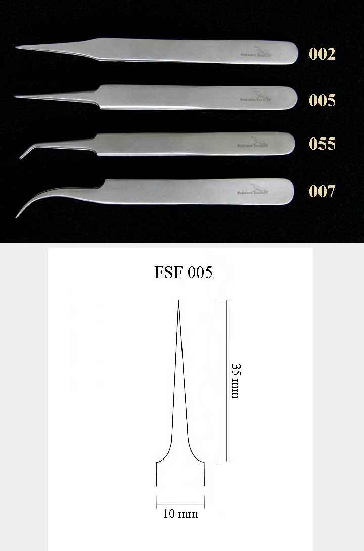 Precision Forceps 005, l. 115 mm, pointed straight tip
