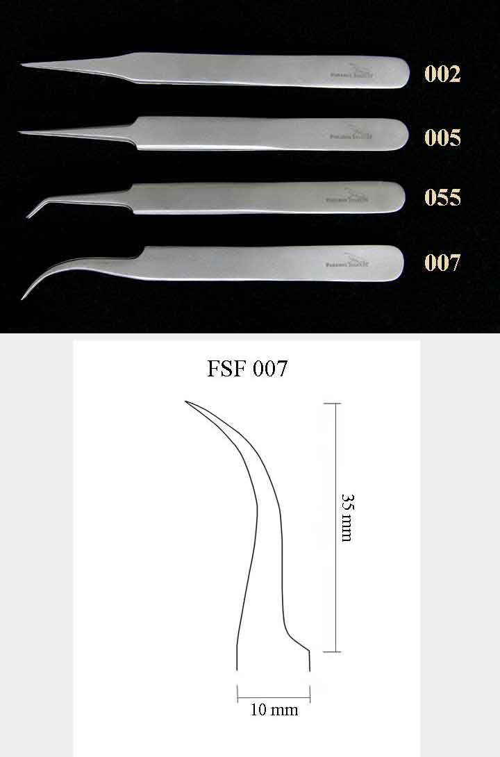 Precision Forceps 007, l. 115 mm, smooth curved tip